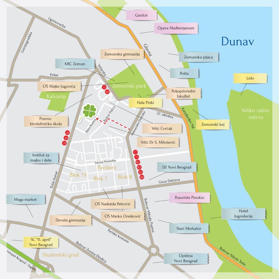mapa zemuna Lokacija – Zelena avenija stambeno poslovni kompleks (Zemun,Novi  mapa zemuna